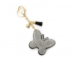 Clear Crystal Butterfly Tassel Puffy Keychain