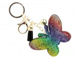 Multi Crystal Butterfly Tassel Puff Keychain