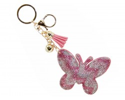 Pink Crystal Butterfly Tassel Puff Keychain