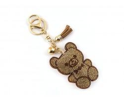 Brown Crystal Teddy Bear Tassel Puffy Keychain