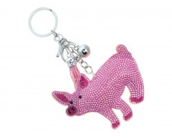 Pink Crystal Pig Tassel Puff Keychain