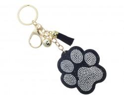 Black Crystal Paw Print Tassel Puffy Keychain