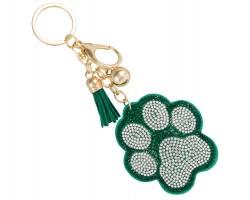 Green Crystal Paw Print Tassel Puffy Keychain