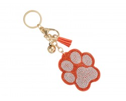 Orange Crystal Paw Print Tassel Puffy Keychain