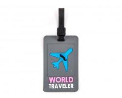 Gray Airplane World Traveler Silicon Luggage Tag