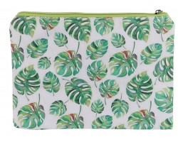 Green Leaf Fern Print Vinyl Zipper Bag