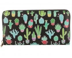 Multi Cactus Pots Pattern Zipper Wallet