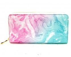 Pink Marble Print Zipper Wallet