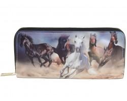 Horse Running Mustang Print Zipper Wallet