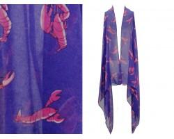 Purple Red Crawfish Sleeveless Cardigan