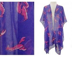 Blue Red Crawfish Kimono