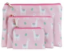Multi Llama Cactus Pattern Makeup Bag 3pc