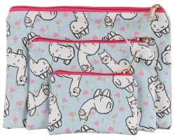 Multi Llama Hearts Pattern Makeup Bag 3pc