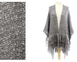 Gray Mix Knit Fringe Poncho