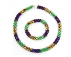 Mardi Gras Crystal Mag Necklace Bracelet Set