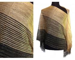Black Gold Wide Stripe Shimmer Poncho
