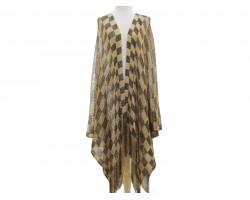 Black Gold Checker Long Kimono