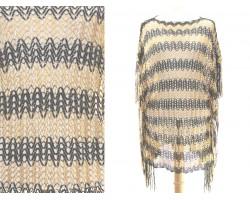 Black Gold Wavy Stripe Fringe Poncho