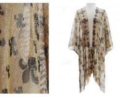 Black Gold Fleur De Lis Fringe Kimono