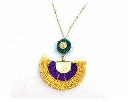 Mardi Gras Crescent Cloth Tassel Necklace