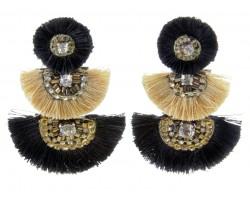 Black Gold 3 Tier Crescent Tassel Post Earrings