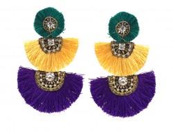 Mardi Gras 3 Tier Crescent Tassel Post Earrings