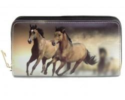 Brown Mustang Horses Zipper Wallet