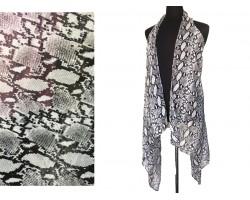 Gray Snakeskin Pattern Long Tail Vest