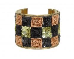 Black Gold Checker Seed Bead Sequin Cuff Bangle