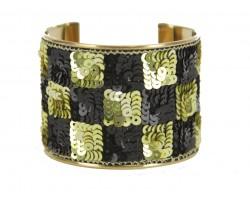 Black Gold Checker Sequin Cuff Bangle