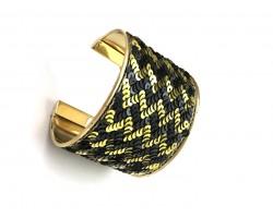 Black Gold Chevron Sequin Cuff Bangle