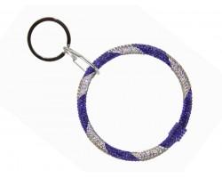Blue White Crystal Bangle Key Chain