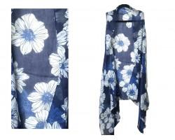 Blue Montana Flower Pattern Sleeveless Cardigan.