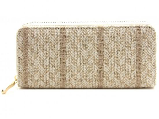 Brown Weave Pattern Zipper Wallet