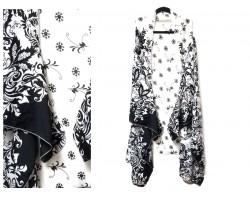 White Black Floral Pattern Sleeveless Cardigan