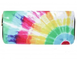 Multi Tie Dye Pattern Zipper Wallet