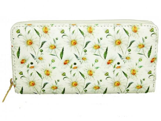 White Daisy Pattern Zipper Wallet