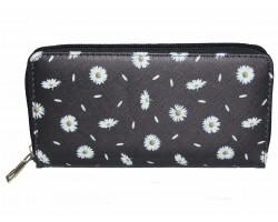 Black White Daisy Pattern Zipper Wallet