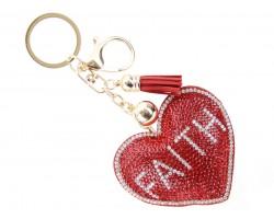 Red Crystal Heart Faith Puffy Key Chain