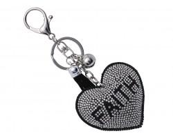 Silver Black Crystal Heart Faith Puffy Key Chain