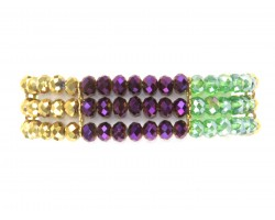 Mardi Gras Crystal 3 Line Bead Stretch Bracelet
