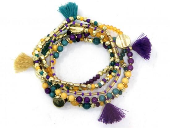 Mardi Gras Tassel Coin Multi Strand Bracelet