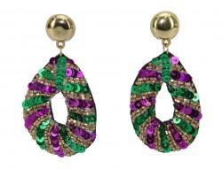 Mardi Gras Sequin Teardrop Dangle Post Earrings