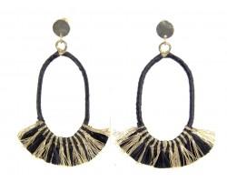 Black Gold Oval Tassel Post Earrings