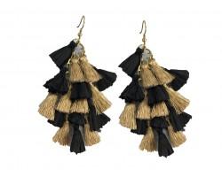 Black Gold Multi Mini Tassels Hook Earrings