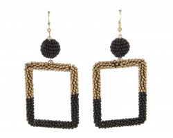 Black Gold Seed Bead Wrapped Square Earrings