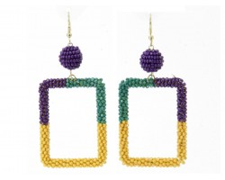 Mardi Gras Seed Bead Wrapped Square Earrings