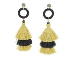 Gold Black 3 Tier Tassel Ring Post Earrings