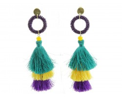 Mardi Gras Tassel Seed Bead Diamond Earrings