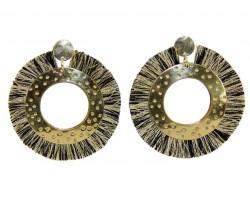 Black Gold Tassel Ring Disc Post Earrings